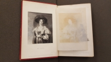 Many of the engravings in <em>The Keepsake</em> are protected by tissue. This image of the frontispiece from the 1829 issue, <em>Mrs. Peel</em>, shows how some of the ink has transferred onto the tissue. The Keepsake for 1834. University of Victoria Libraries Special Collections, AY13 K4 1834. Image by Caroline Winter, taken on 7 Dec. 2017.