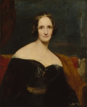 Mary Wollstonecraft Shelley, by Richard Rothwell. Oil on canvas, exhibited 1840. NPG 1235. © National Portrait Gallery, London, https://www.npg.org.uk/collections/search/portrait/mw05761/Mary-Wollstonecraft-Shelley?search=sp&sText=mary+shelley&rNo=1